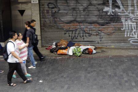 Homeless in the street of Hong Kong 2.08.2018