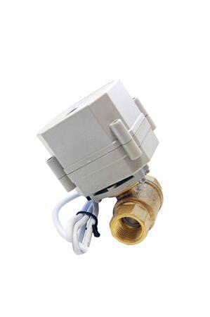 Motorized water valve isolated on white