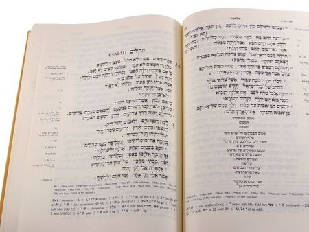 Hebrew Bible opened to the Psalms, with