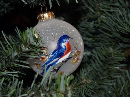 Glass ornament hanging on Christmas tree Stok Fotoğraf