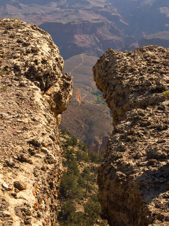 Crevasse above the Bright Angel Trail at the Grand Canyon Banco de Imagens