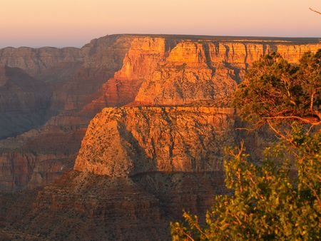 Grand Canyon in light of the setting sun, seen from Grandview Point Banco de Imagens