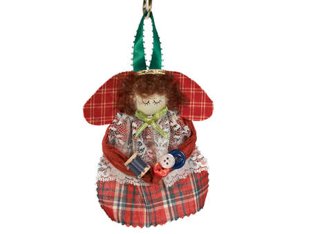 Christmas tree ornament - handmade red angel