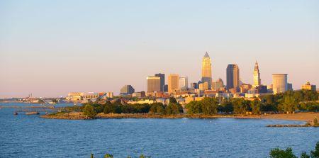 Cleveland, Ohio, éclairé par le soleil couchant Banque d'images - 1349046