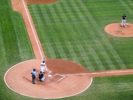 Batter ready for the pitch in a major league baseball game (genericized) Foto de archivo