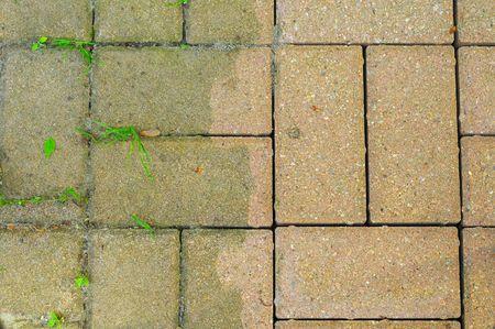 Patio briques montrant la différence apportée par le pouvoir de lavage  Banque d'images - 3179853