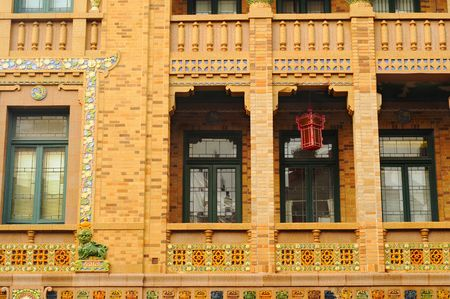 Detail of ornate building in Chicagos Chinatown