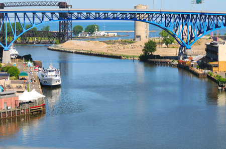 Looking north over the Cuyahoga River in Cleveland, Ohio, to where it flows into Lake Erie