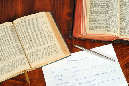A Greek and English New Testament opened to John 3:16 with study notes