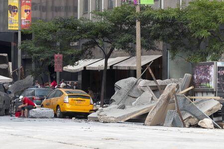 Cleveland - August 17, 2011: Rubble in the street is part of the production of the blockbuster movie The Avengers in Cleveland.  Editorial