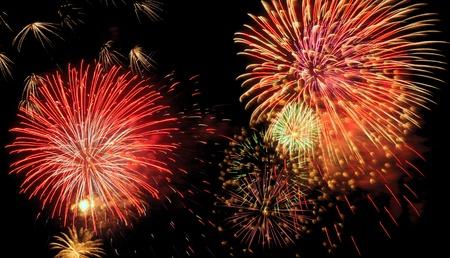Big bold fireworks filling the night sky