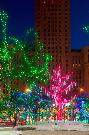 festive christmas lights on public square in downtown cleveland ohio stock photo 20427939