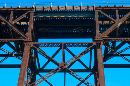 Part of a high railroad trestle almost directly overhead Stock Photo