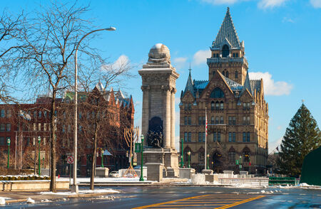 Clinton Square in Syracuse, NY, with Soldiers and Sailors Monument and Christmas tree ready for the holiday season