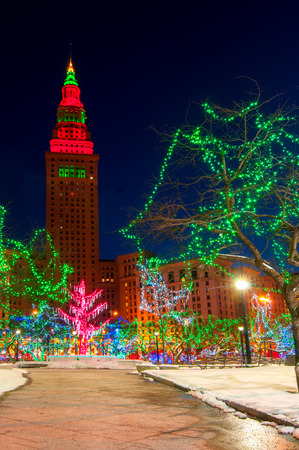 Cleveland Christmas.The Terminal Tower And Public Square In Cleveland Ohio Lit Up