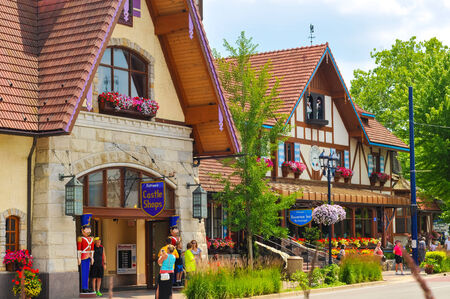 FRANKENMUTH, MI - JUNE 28, 2014: The Bavarian Inn, one of the main restaurants and attractions in this Michigan town, has brought throngs of visitors to sample German culture for decades.