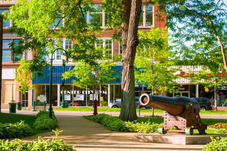 PETOSKEY, MI - JUNE 27: An old cannon adds historic interest to Petoskey