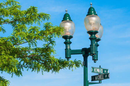 Three of the gaslights in the famed Gaslight District of Petoskey, Michigan Stock Photo