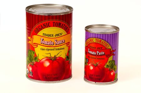 TWINSBURG, OH, USA - FEBRUARY 7, 2015: Two cans of Trader Joe