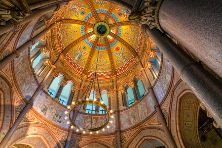 CLEVELAND, OH - APRIL 18, 2015: The rotunda of the Garfield Memorial soars high above in Clevelands Lakeview Cemetery. President James A Garfield and his wife are buried in the crypt below.