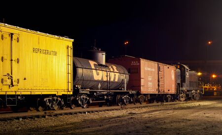 CLEVELAND, OH - MAY 9, 2015: A vintage rumbles on the track at the Midwest Railway Preservation Society, a volunteer organization dedicated to perserving Americas railroad heritage.
