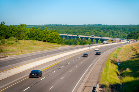 The Ohio Turnpike Interstate 80 crosses the Cuyahoga Valley south of Cleveland 스톡 콘텐츠