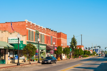 BEDFORD, OH - JULY 25, 2015: With many old buildings over a century old, this southeastern Cleveland suburb retains its small-town America atmosphere.