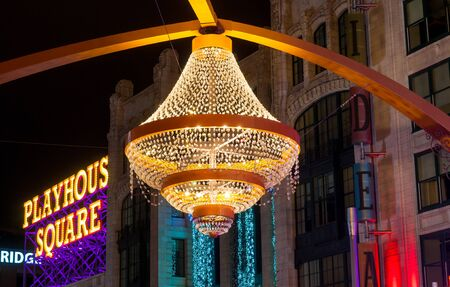 CLEVELAND, OH - JANUARY 1, 2016: One of Cleveland's most popular new landmarks is the GE chandelier suspended above Euclid Avenue in the center of the theater district, Playhouse Square. Sajtókép
