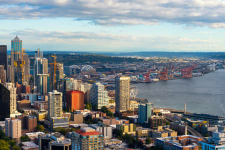 SEATTLE, WA - SEPTEMBER 10, 2016: Seattle�s rapidly growing downtown and waterfront area, with pro sports stadiums in the background, is seen from the Space Needle at 520 feet.