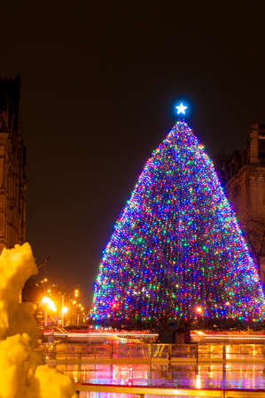 The large outdoor Christmas tree on Clinton Square in Syracuse NY Stock Photo