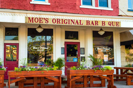 GRANVILLE, OH - MAY 15, 2017: With over 60 locations, Granville is so far its only Ohio location for Moe's Bar B Que, which serves Alabama-style BBQ and southern comfort food. Sajtókép
