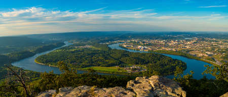 Panorama of Chattanooga and the Tennessee River from high up on Lookout Mountain
