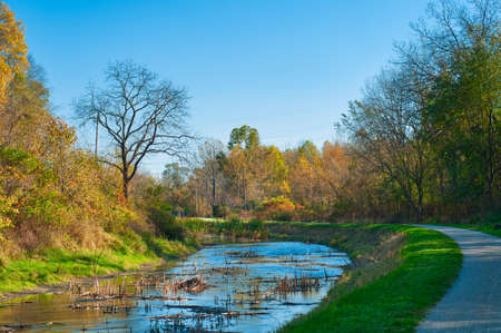 A walk along the towpath of the Ohio and Erie Canal in Cuyhoga Valley National Park near Cleveland