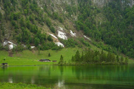 A small farm building with a restaurant nestles at the southern end of Bavaria's Königssee, under the steep Alpine slopes, with dairy cows grazing close by