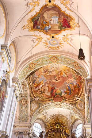 MUNICH, GERMANY - MAY 24, 2019: The high ceiling with baroque painting inside the Peterskirche (Peter's Church). The church, popularly called Alter Peter (Old Pete) is the oldest in the city. Éditoriale