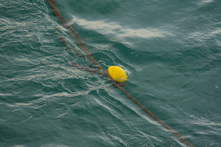 A yellow buoy floating in the sea