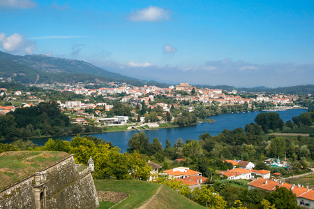 Beautiful village, Valen?a do Minho, Portugal. The fort, the river and the beautiful sky