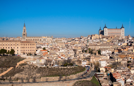 Nice landscape of the city of Toledo on a sunny day with nice blue sky