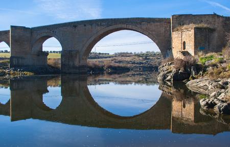 The Archbishop's Bridge, province of Toledo, Castille-La Mancha, Spain. The archbishop's bridge. Stok Fotoğraf