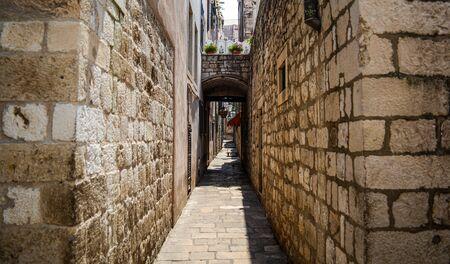 Old and narrow street in dubrovnik, Croatia
