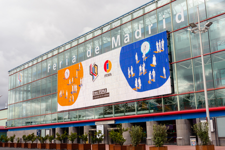 Madrid, Spain; 02112019: IFEMA (Madrid Fair Institution) is an entity that organizes fairs, halls and congresses in its facilities and will host the COP 25. Picture of the main facade 에디토리얼