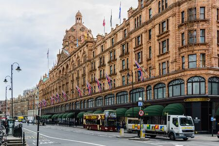 London, England; 04/21/2016: Harrods department store located on Brompton Road in Knightsbridge, London, England