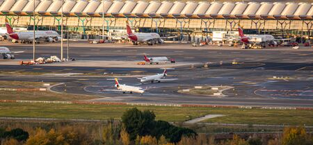Madrid, Spain; 11/23/2019: Plane of the Spanish company Iberia taking off from Adolfo Suarez Madrid Barajas airport