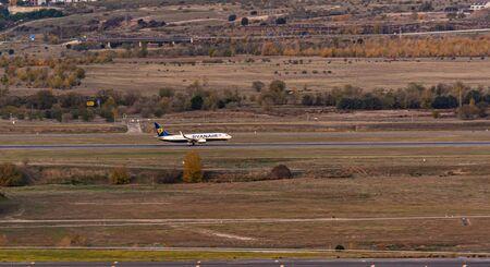 Madrid, Spain; 11/23/2019: Plane of the Irish company Ryanair taking off from Adolfo Suarez Madrid Barajas airport