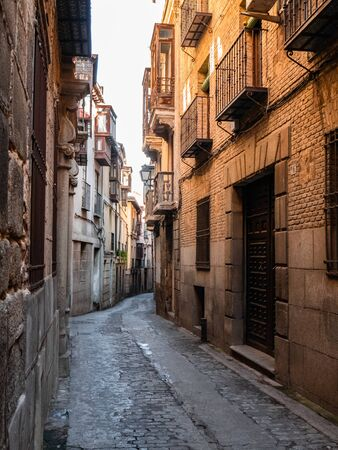 Details of the beautiful streets and facades of the city of Toledo, Spain