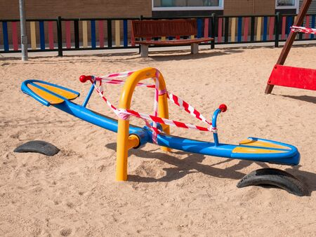 Playgrounds and swings closed in San Sebasti�n de los Reyes due to pandemic 免版税图像