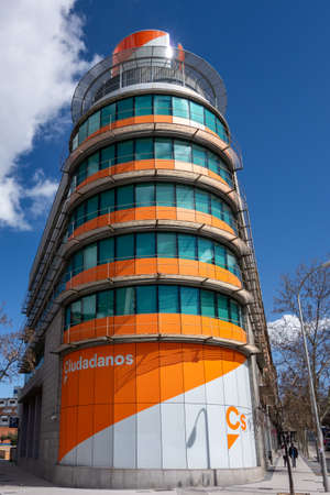 Madrid, Spain; 03-14-2021: Headquarters of the Spanish political party Ciudadanos located in Alcala street in Madrid