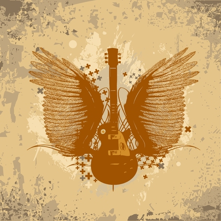 grunge cross: Guitar with wings and grunge background