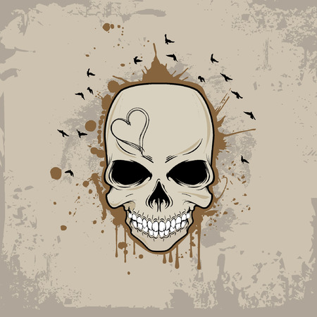 crook: Vector background with skull