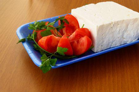 Tomatos and greek feta (cheese)